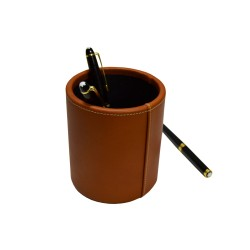Tan Leather Pencil Holder