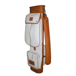 White Travel Leather Golf Bag