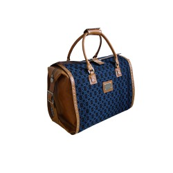 Blue Leather Travel Bag