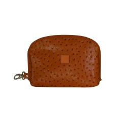 Tan Ostrich Leather Multifunction Bag