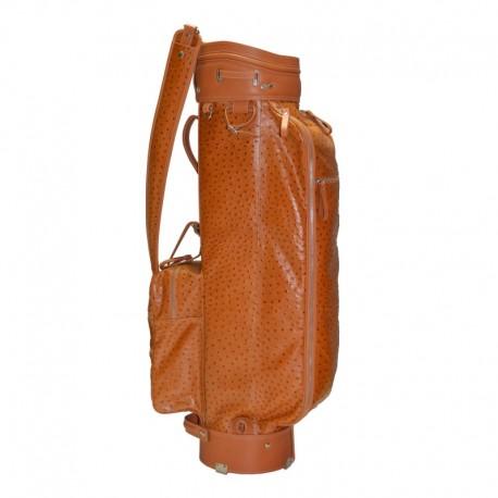Tan Ostrich Leather Golf Bag