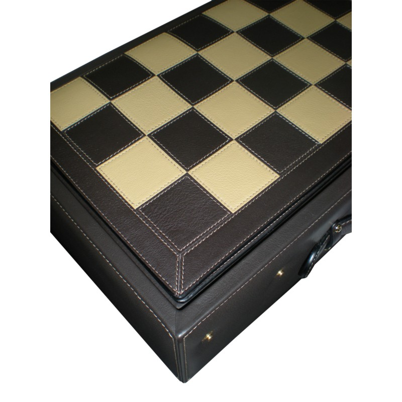 Leather chess real leather studio - Chess board display case ...