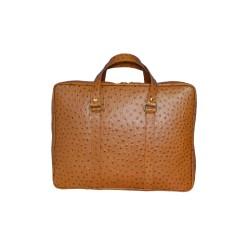 Tan Ostrich Leather Messenger Bag