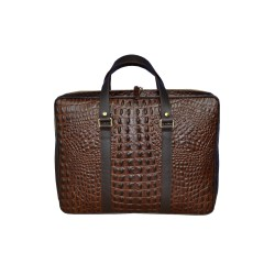 Brown Crocodile Leather Messenger Bag
