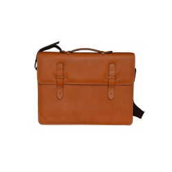 Dark Tan Leather Messenger Bag