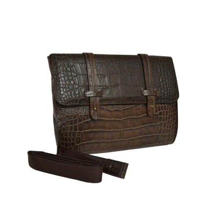 Dark Brown Alligator Messenger Bag