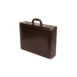 Dark Brown Crocodile Attache Case