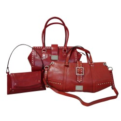 Red Leather Luxury Handbags Woman