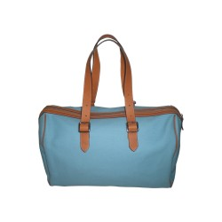 Turquoise Canvas Weekend Handbag
