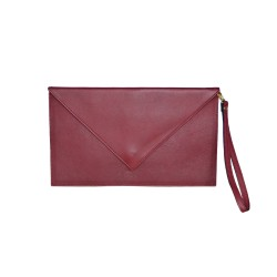 Bordeaux Leather Clutch Handbag