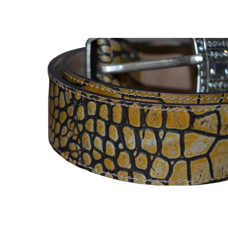 yellow leather belt real leather studio