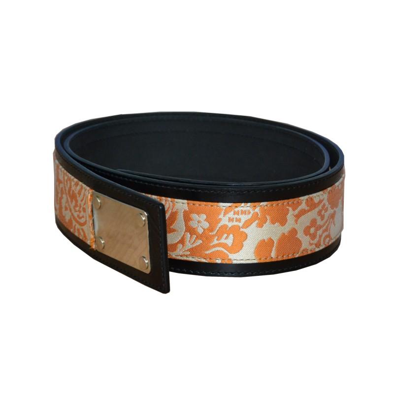 orange luxury leather belt real leather studio