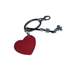 Leather Keychain Red Heart