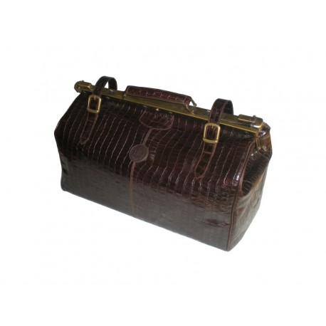 Brown Alligator Leather Travel Bag