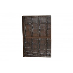 Dark Brown Crocodile Leather Notebook