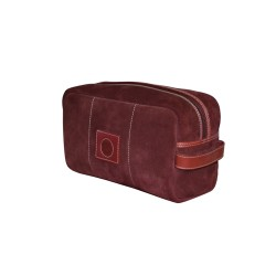 Burgundy Leather Wash Bag