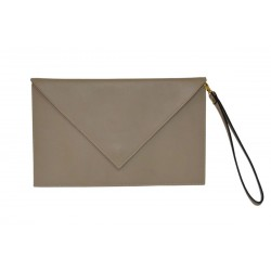 Beige Leather Clutch Handbag