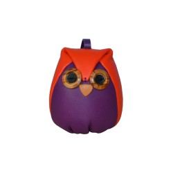 Orange Leather Charm Owl